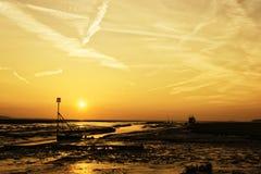 Por do sol de Wirral Fotografia de Stock