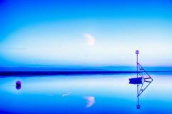 Por do sol de Wirral que sente azul Foto de Stock