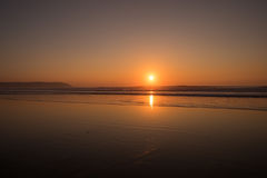 Por do sol de Woolacombe fotografia de stock royalty free