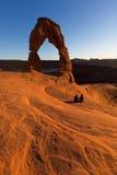 Por do sol delicado do arco no parque nacional dos arcos Fotografia de Stock Royalty Free