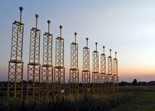 Por do sol do aeroporto de Bruxelas Fotos de Stock