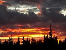 Por do sol do Alasca Imagens de Stock