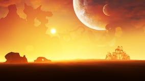 Por do sol do ambiente do planeta do gelo ilustração do vetor