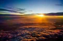 Por do sol do avião Imagem de Stock