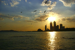 Por do sol do beira-mar em Qingdao, China Imagem de Stock Royalty Free