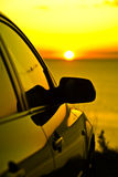 Por do sol do carro Fotografia de Stock