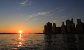 Por do sol do centro de New York Manhattan Foto de Stock Royalty Free