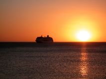Por do sol do cruzeiro Foto de Stock