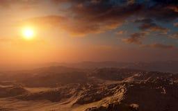 Por do sol do deserto da fantasia Foto de Stock Royalty Free