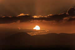 Por do sol do eclipse Foto de Stock Royalty Free