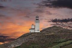Por do sol do farol da ilha de Anacapa na paridade do nacional das ilhas channel Fotos de Stock