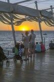 Por do sol do ibiza de San Antonio Imagem de Stock