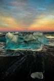 Por do sol do iceberg de Islândia Imagens de Stock