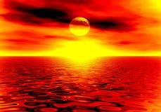 Por do sol do incêndio Fotos de Stock