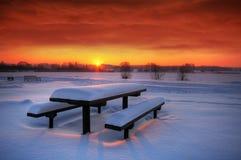Por do sol do inverno de Spectaculat Fotografia de Stock Royalty Free
