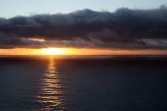 Por do sol do inverno em Big Sur Fotografia de Stock