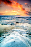 Por do sol do inverno em Cidade de Quebec Fotografia de Stock