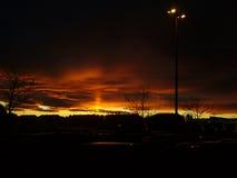 Por do sol do inverno em Noruega Imagens de Stock