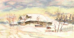 Por do sol do inverno ilustração royalty free