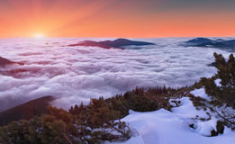 Por do sol do inverno sobre as nuvens Fotos de Stock Royalty Free