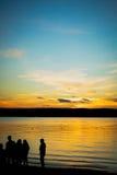 Por do sol do lago Fotos de Stock