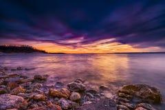 Por do sol do lago Benbrook fotografia de stock royalty free