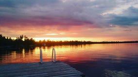 Por do sol do lago betula Imagens de Stock Royalty Free