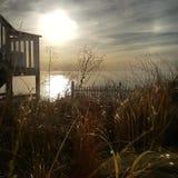 Por do sol do Lago Michigan Fotografia de Stock Royalty Free