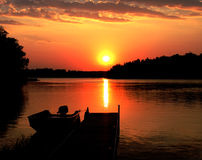 Por do sol do lago Minnesota Imagens de Stock Royalty Free
