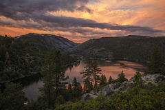 Por do sol do lago Pinecrest Fotografia de Stock