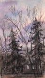Por do sol do Lilac ilustração stock