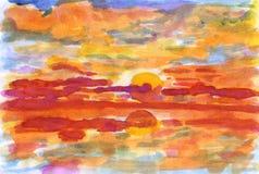 Por do sol do mar Ilustração Royalty Free