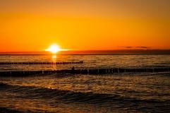 Por do sol do mar Báltico Imagem de Stock