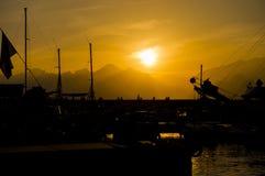 Por do sol do mar de Medterranean, por do sol surpreendente em Antalya Imagens de Stock Royalty Free