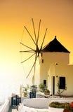 Por do sol do moinho de vento Foto de Stock Royalty Free