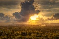 Por do sol do monte Imagens de Stock