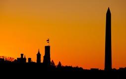 Por do sol do monumento de Washington Imagens de Stock