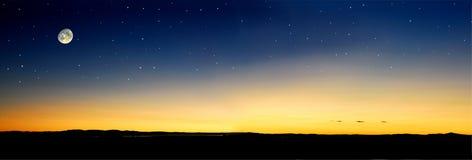 Por do sol do Moonrise Ilustração Stock
