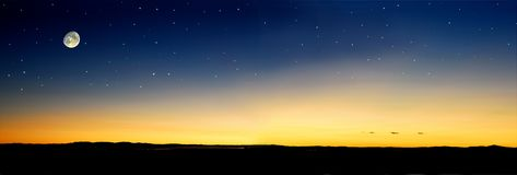 Por do sol do Moonrise Foto de Stock Royalty Free