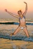 Por do sol do oceano Foto de Stock Royalty Free
