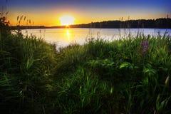 Por do sol do ouro lake-3 Imagem de Stock