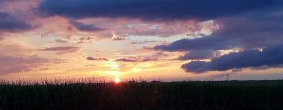 Por do sol do país Fotografia de Stock