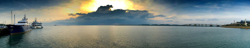 Por do sol do panorama Fotos de Stock