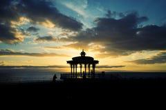 Por do sol do pavilhão de Brigghton Imagem de Stock