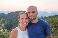 Por do sol do ponto de vista de Wat Tham Seua Foto de Stock Royalty Free