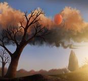 Por do sol do por do sol ilustração do vetor