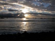 Por do sol do porto fotografia de stock royalty free