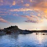 Por do sol do porto de Denia no porto na Espanha de Alicante Fotos de Stock Royalty Free