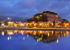 Por do sol do porto de Denia no porto na Espanha de Alicante Imagem de Stock
