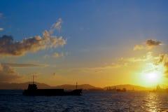 Por do sol do porto de Hong Kong Victoria Foto de Stock